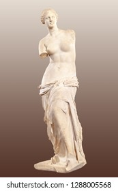 Statue of Aphrodite of Milos or Venus of Milo. Isolated with clipping path
