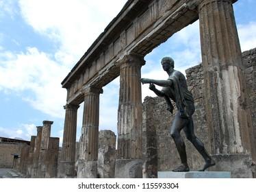 Statue of Apollo at Temple of Apollo, Pompeii, Italy
