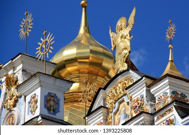 Statue of the Archangel Michael at the St. Michael's Golden-Domed Cathedral on the grounds of the St. Michael's Golden-Domed Monastery in Kyiv, Ukraine