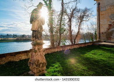 Statue Architecture at Ptuj Castle in Slovenia. Sunset in Ptujski grad in Slovenija. Travel