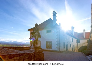 Statue Architecture of Ptuj Castle in Slovenia. Sunset in Ptujski grad in Slovenija. Travel