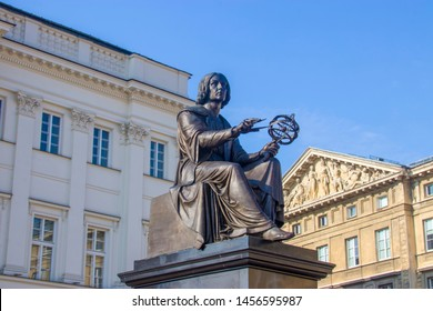 The Statue of astronomer Nicolaus Copernicus in Warsaw Poland, who who formulated a model of the universe that placed the Sun rather than the Earth at the center of the universe.