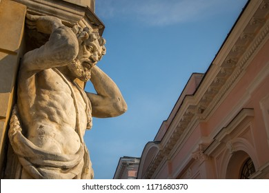Statue of Atlas. Also called Corgon. The sculpture is a famous landmark and symbol of Nitra, Slovakia