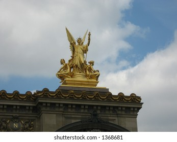Statue atop the Opera Garnier in Paris, France