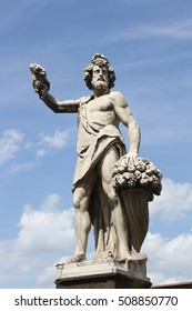 Statue of Bacchus in Holy Trinity Bridge of Florence, Italy.