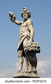 Statue of Bacchus in Holy Trinity Bridge of Florence, Italy