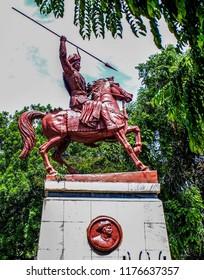 Statue of Bajirao Peshwa outside Shaniwar wada fort, Pune.
