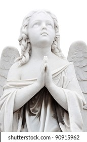 Statue of a beautiful  child angel praying isolated on white with clipping path
