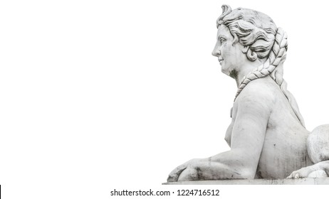 Statue of beautiful sphinx in downtown of Potsdam isolated at white background, Germany