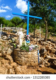 statue of blessed Virgin Mary at Podbrdo, apparition hill in Medjugorje, popular pilgrimage site for catholic believers in Bosnia and Herzegovina, Balkan peninsula, Southeastern Europe