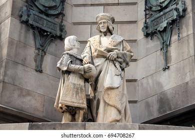 Statue at the bottom of the monument to Christopher Columbus, Barcelona, Spain 2015