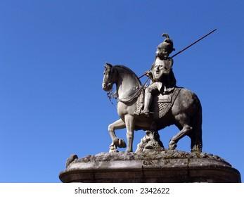 statue in braga, horse, king, portugal, art