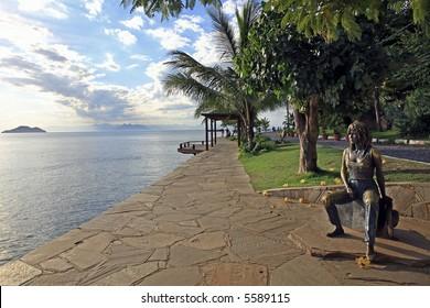statue of brigitte bardot in the beautiful typical brazilian city of buzios near rio de janeiro in brazil