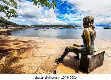 Statue of Brigitte Bardot in Buzios harbor in Brazil
