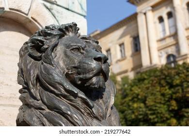 Statue of bronze lion, general Klapka, hungarian revolution and war of independence