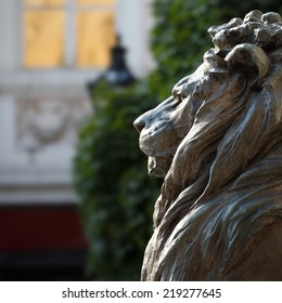 Statue of bronze lion side view, general Klapka, hungarian revolution and war of independence