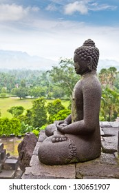 A statue of the Buddha from Borobudur on Java in Indonesia.