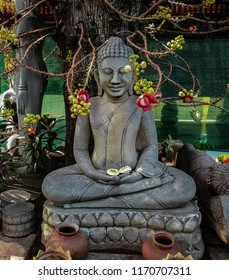 Statue of Buddha with cannonball flowers