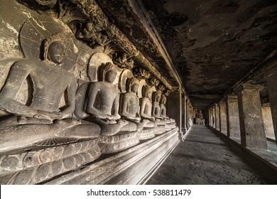 Statue of Buddha in Ellora caves near Aurangabad, Maharashtra state in India