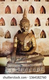 Statue of buddha in Laos old temple Wat Sisaket.