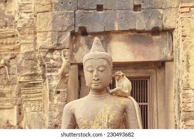 Statue of Buddha at Pra Prang Sam Yot in Lopburi Thailand.