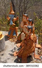 Statue of Buddha preaching to his disciples,  Sambuk Mountain Monastery, Kratie,  Cambodia