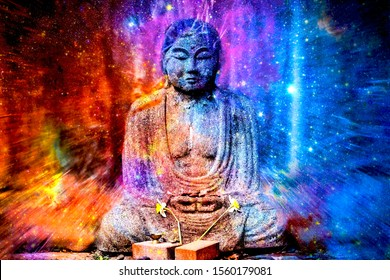 Statue of Buddha Transmuting Explosion of Beautiful Colors Expanding throughout the Galaxy into Your Mind's Eye