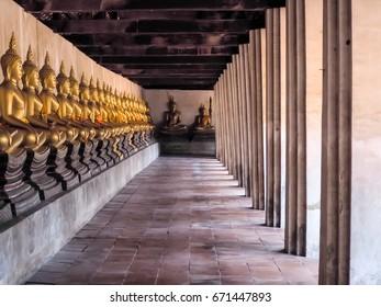 The statue of Buddha at Wat Phut Thaisawan.Ayutthaya,Thailand