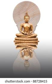 statue of Buddha with wheel of Dharma