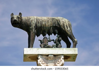 Statue of the capitoline wolf with Romulus and Remus in Pisa at the Square of Miracles .