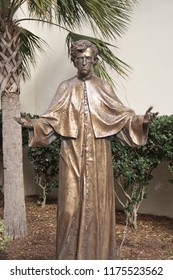 Statue of a Catholic priest (Father Félix Varela). Photo taken in St. Augustine, Florida, USA.
