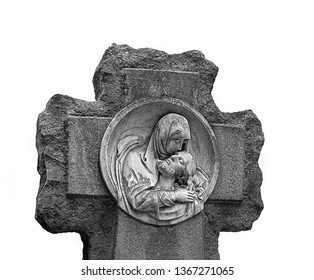 statue in cemetery of Holy Mary holding dead Corpus Jesus Christ Isolated on white. statue Mary and Jesus Christ after Crucifixion Descent from Cross, passionate Friday. concept of religion.