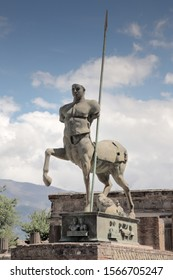 statue of Centaur,mythical creature of  half man half horse, in the ruined city Pompeii