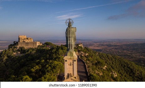 statue of Christ standing on a pedestal, The Balearic islands, Spain Palma de Mallorca, huge old statue on a hill,