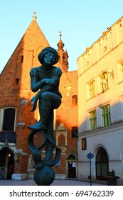 Statue of Christian Prophet in front of Church of St. Barbara In Krakow
