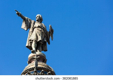 Statue of Christopher Columbus on the colon in Barcelona, Spain
