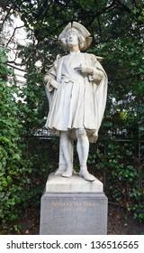 Statue (circa XIX c.) of Bernard van Orley (1495 -1542),  a Flemish Northern Renaissance painter and draughtsman. Petit Sablon  park, Brussels, Belgium