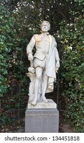 Statue (circa XIX c.) of Cornelis Floris de Vriendt (1514 �¢?? 1575), a Flemish Renaissance architect and sculptor. Petit Sablon  park, Brussels, Belgium