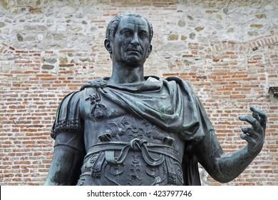 Statue of the city founder Julius Caesar before the City Council in Cividale del Friuli