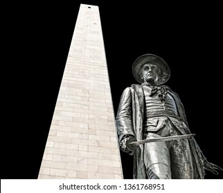 Statue of Colonel William Prescott at the the Bunker Hill Monument (Boston, USA) isolated on black background