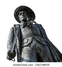 Statue of Colonel William Prescott at the the Bunker Hill Monument (Boston, USA) isolated on white background