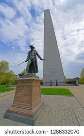 Statue of Colonel William Prescott in front of Bunker Hill Monument in Charlestown, Boston, Massachusetts, USA.