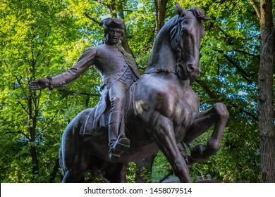 A statue commemorating Paul Revere's midnight ride.