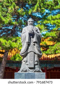Statue of Confucius, located in Harbin Confucian Temple, Heilongjiang, China.