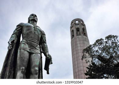 Statue of Cristopher Columbus with Coit Tower in background in San Francisco, California