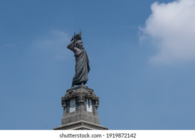 The statue of Cuauhtemoc, an 1887 monument dedicated to the last Mexica ruler of Tenochtitlan, in Mexico City