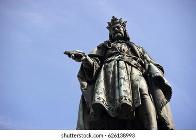 Statue of the Czech King Charles IV. in Prague, Czech Republic