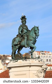 Statue of D. Jose on the Commerce square (Praca do Comercio) in Lisbon, Portugal
