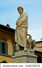 The statue of Dante Alighieri, author of the Divine Comedy, in front of the Basilica of Santa Croce in the heart of Florence.