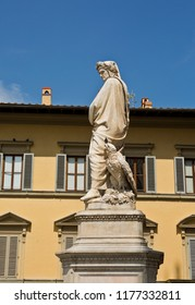 Statue of Dante Alighieri - Florence, Italy. Monument to great poet Dante in Florence
